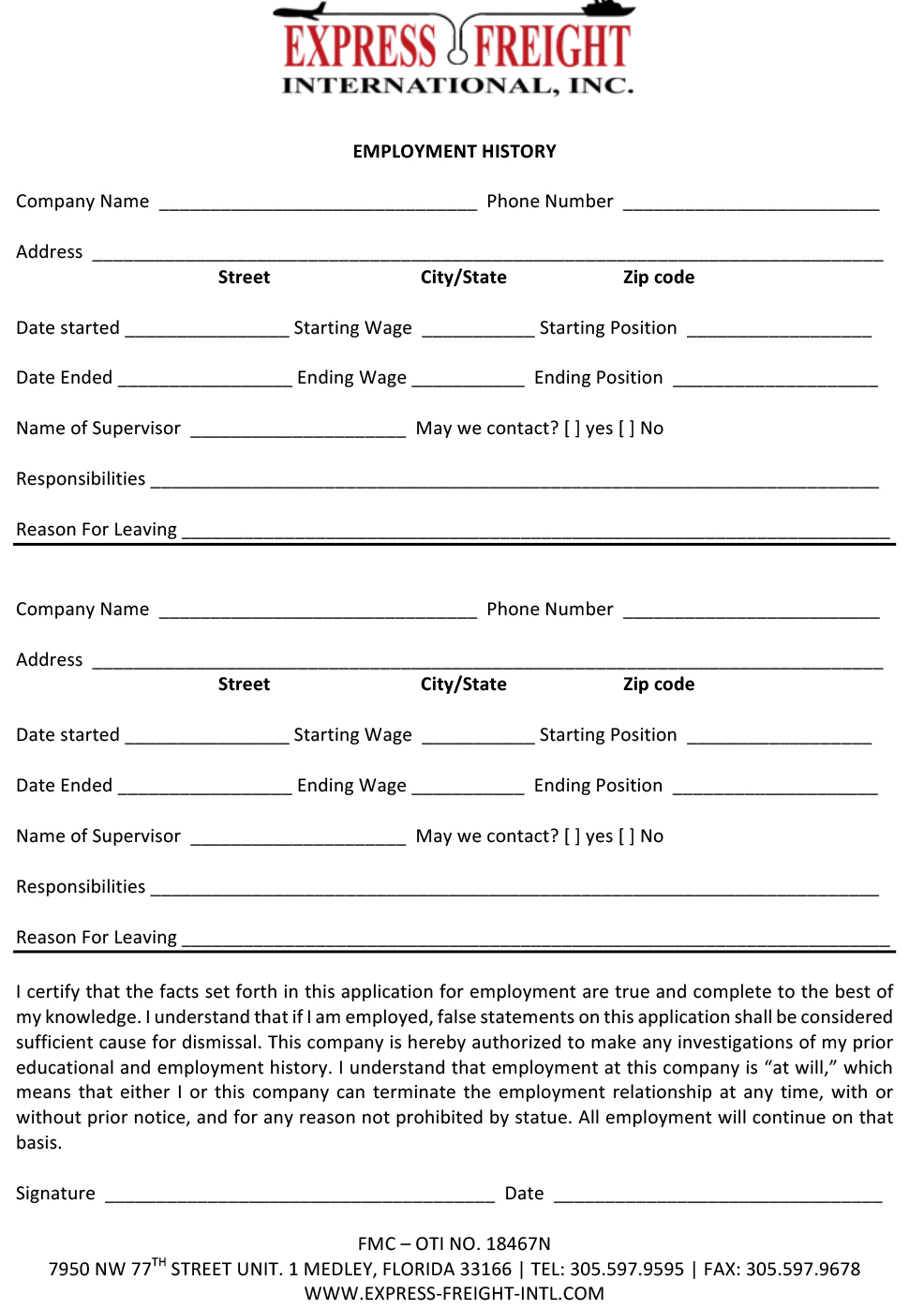 Express Freight International Employment Application Page 2